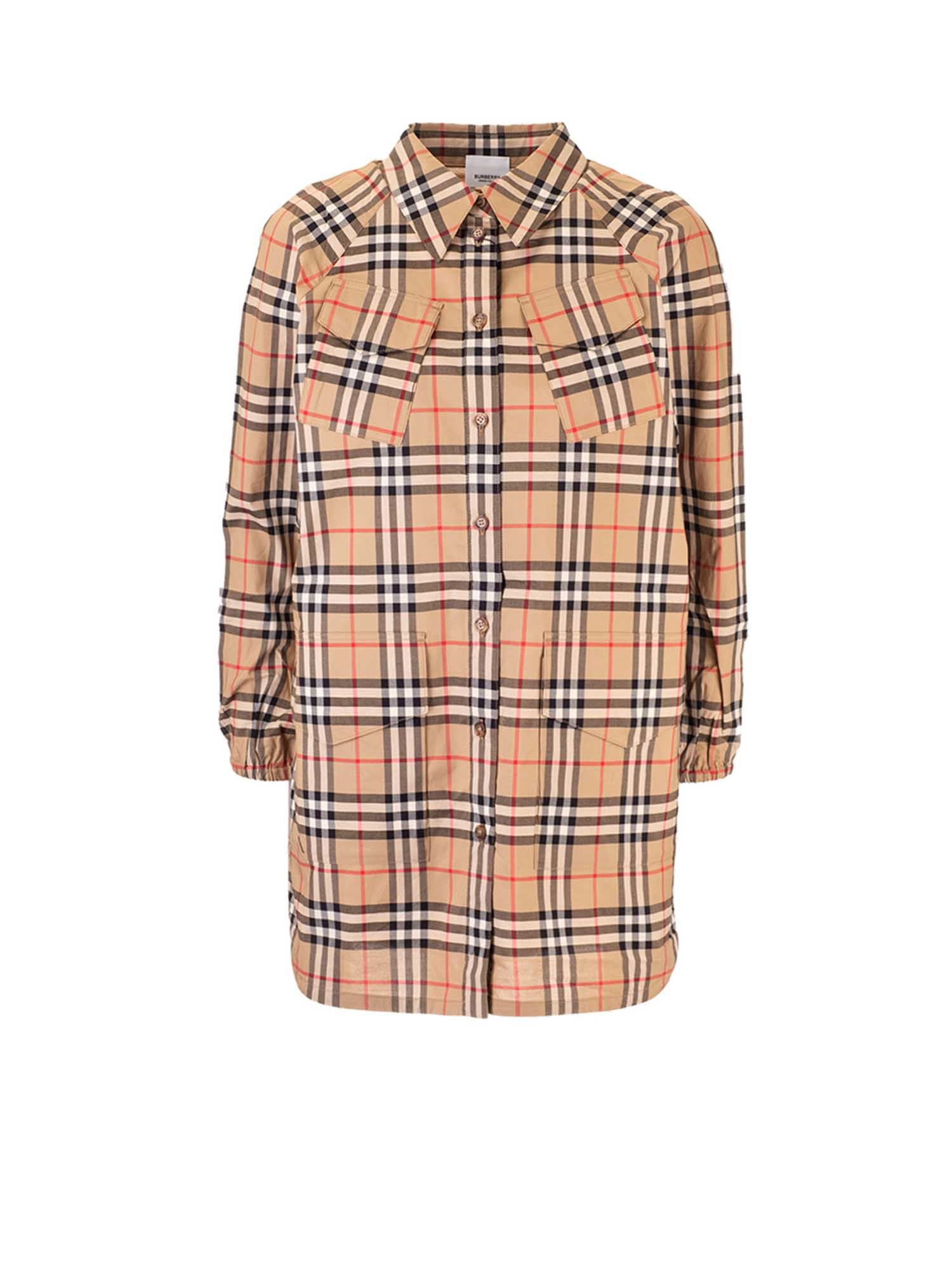 Burberry VINTAGE CHECK SHIRT DRESS IN BEIGE