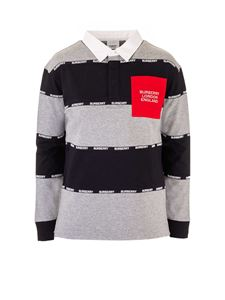 Burberry - Logo striped polo shirt in grey and black