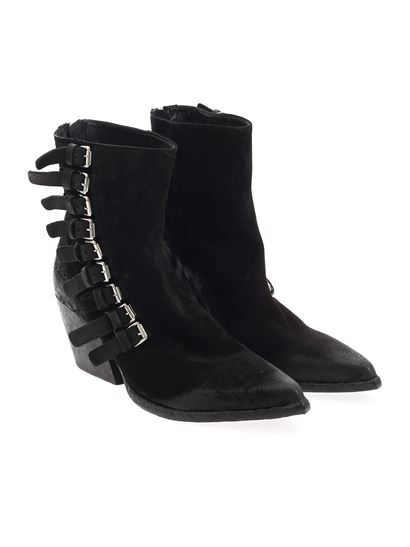 Elena Iachi - Buckles Velour ankle boot in black
