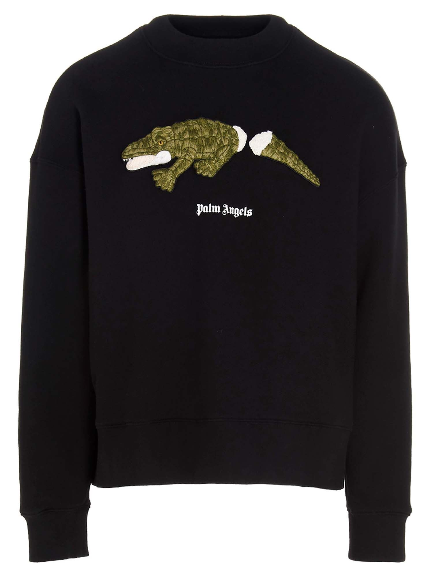 Palm Angels CROCO SWEATSHIRT IN BLACK