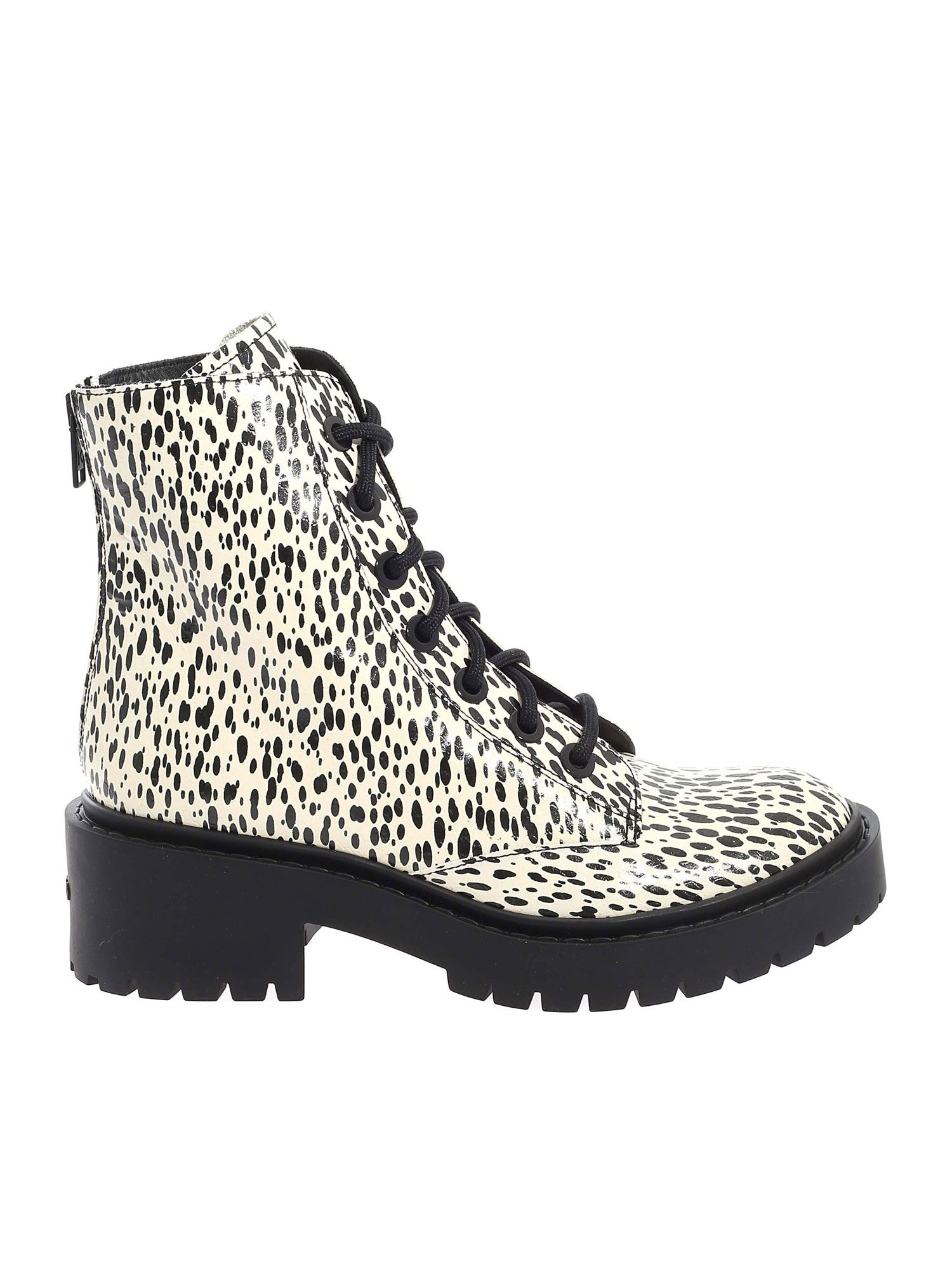 Kenzo PIKE LACE UP ANKLE BOOTS IN ECRU COLOR