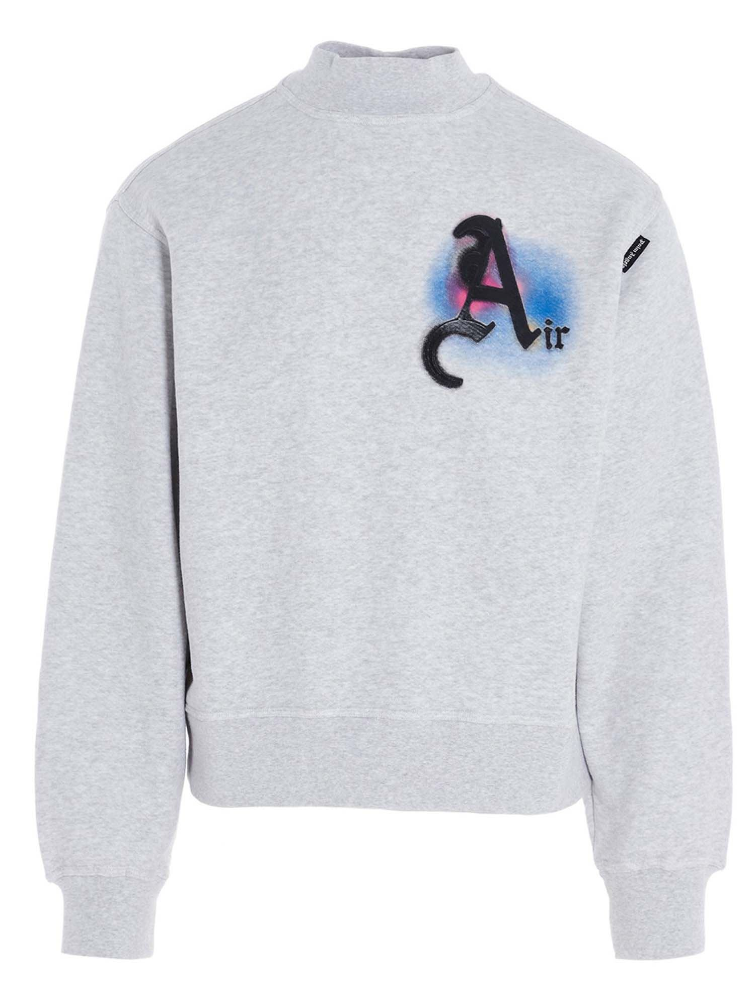 Palm Angels AIR MOCK SWEATSHIRT IN GREY