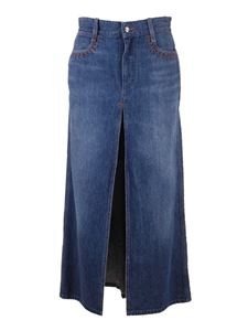 Chloé - A-line skirt in blue denim