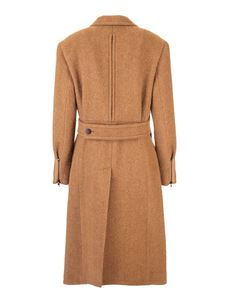 Chloé - Herringbone pattern coat in brown