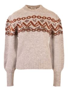 Chloé - Pullover in grey with orange intarsia