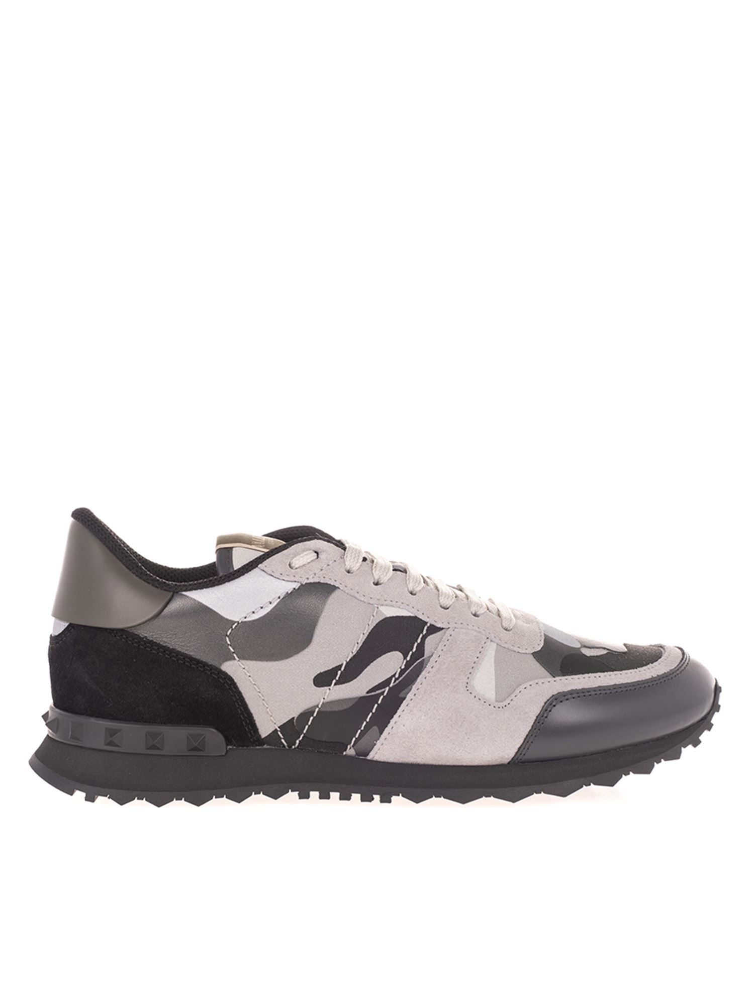 Valentino ROCKRUNNER CAMOUFLAGE SNEAKERS IN GREY