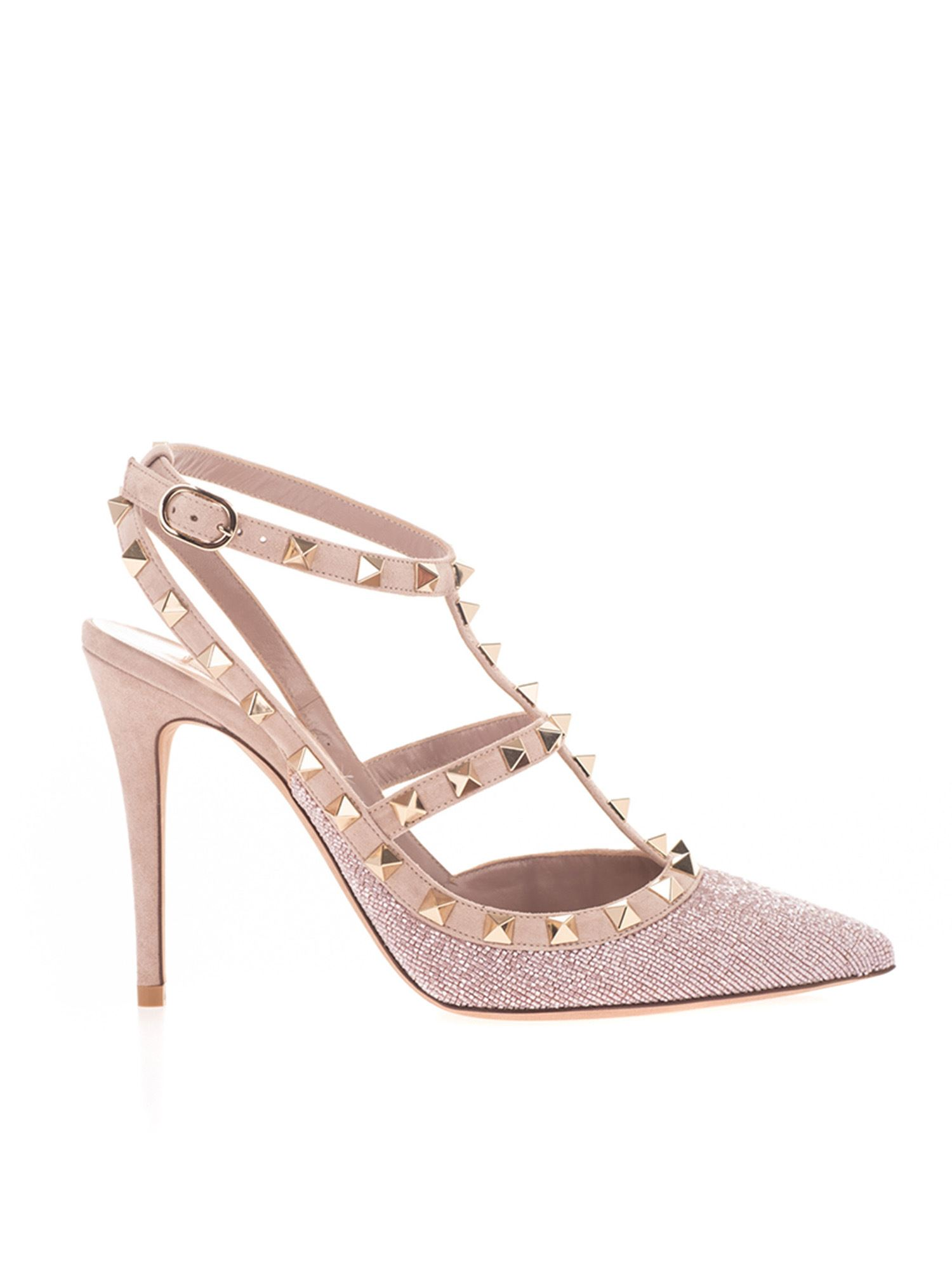 Valentino BEADED ROCKSTUD PUMPS IN PINK