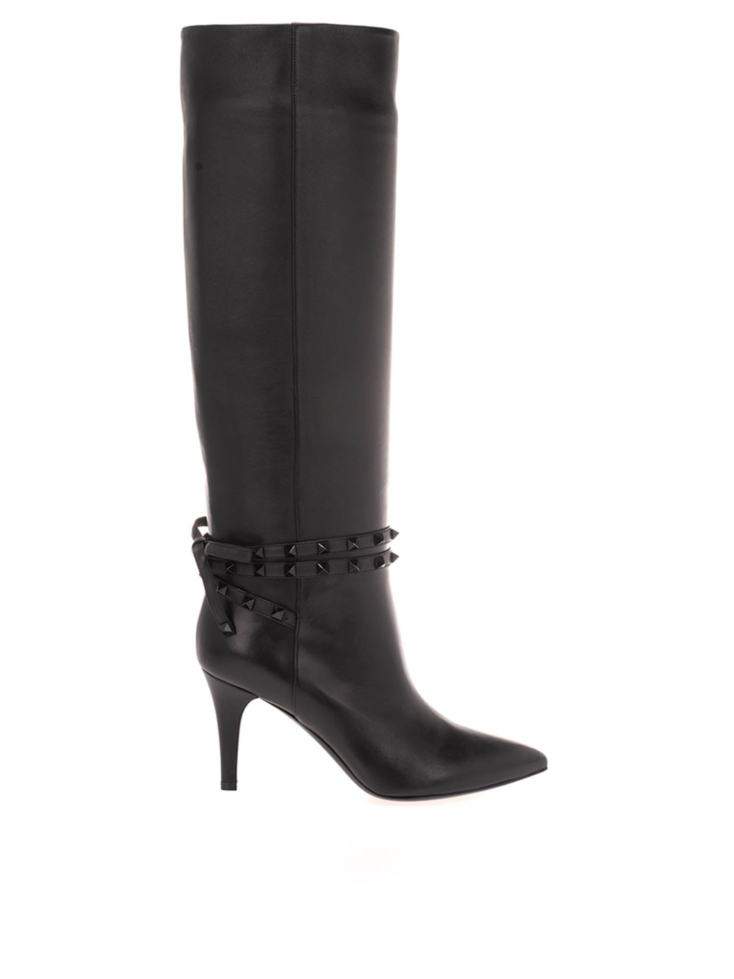 Valentino ROCKSTUD FLAIR BOOTS IN BLACK