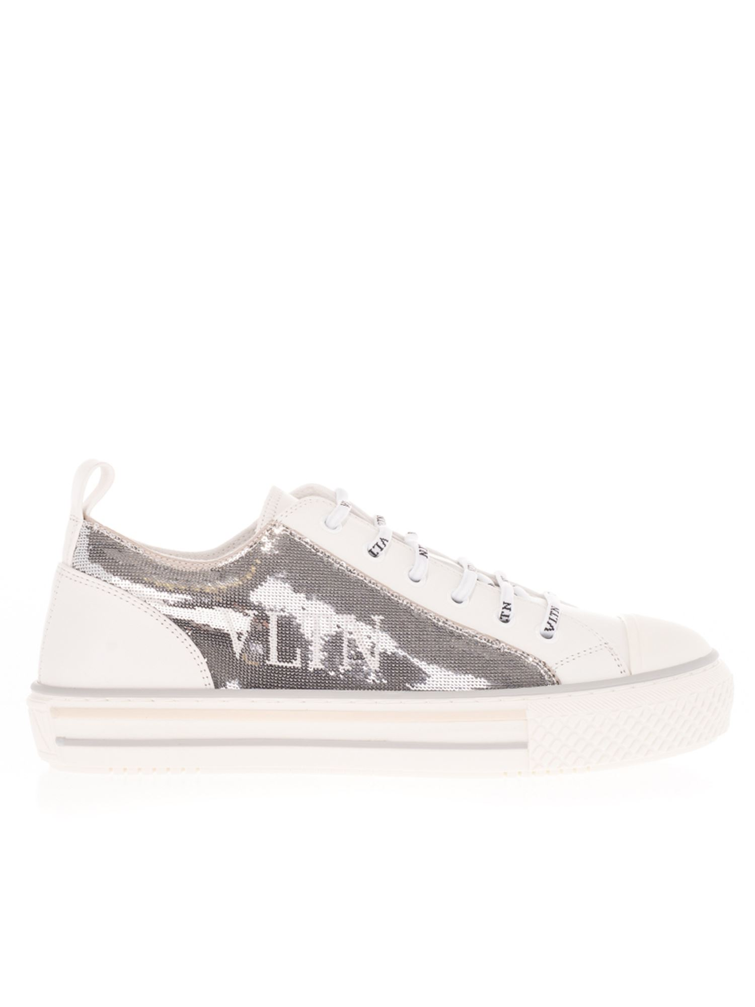 Valentino SEQUINED LOW TOP SNEAKERS IN WHITE