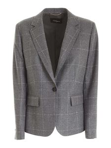 Les Copains - Checked pattern single-breasted jacket in grey