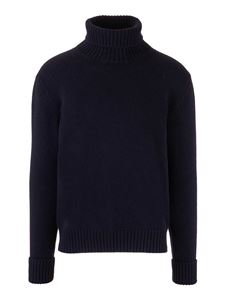 Fay - Ribbed edges turtleneck in blue