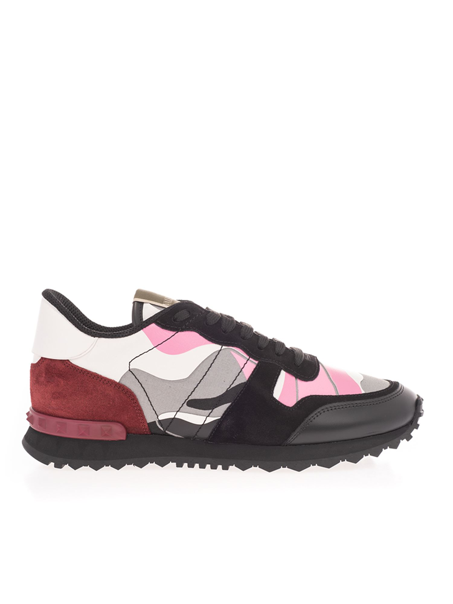 Valentino ROCKRUNNER SNEAKERS IN PINK AND BLACK