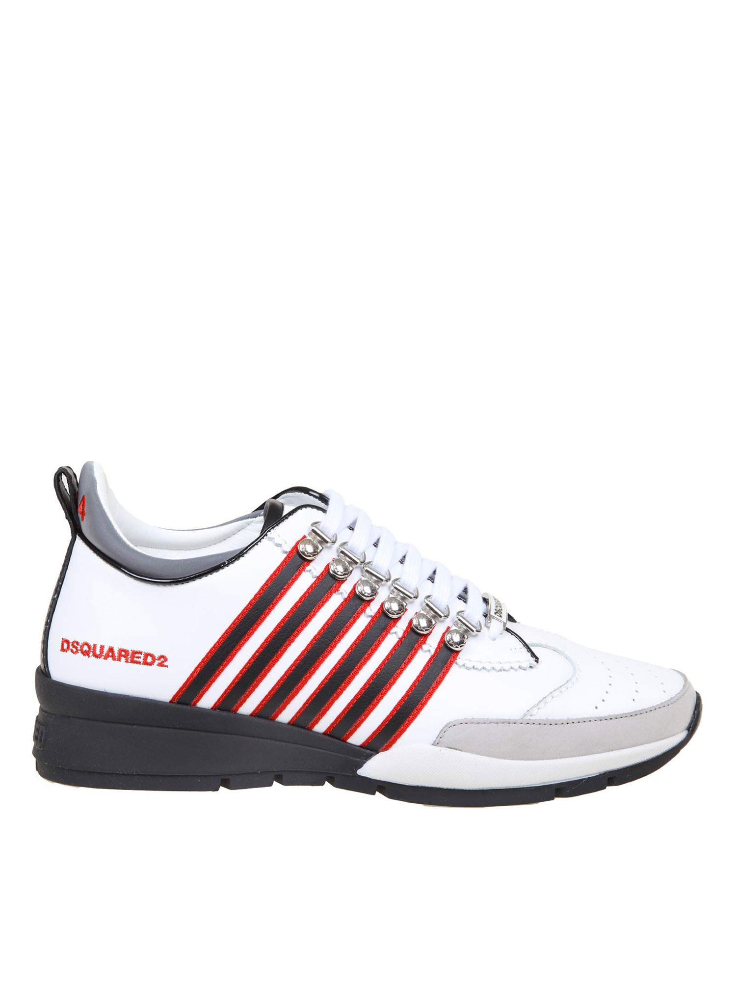 DSQUARED2 251 SNEAKERS IN WHITE AND RED