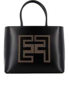 Elisabetta Franchi - Smooth faux leather tote bag in black