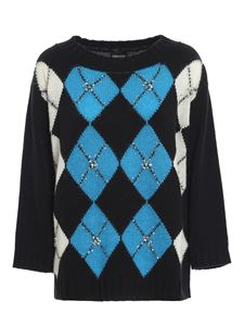 Ermanno Scervino - Crystal sequined check sweater in black