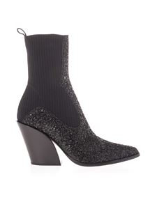 Jimmy Choo - Glittered Mele 85 ankle boots in black