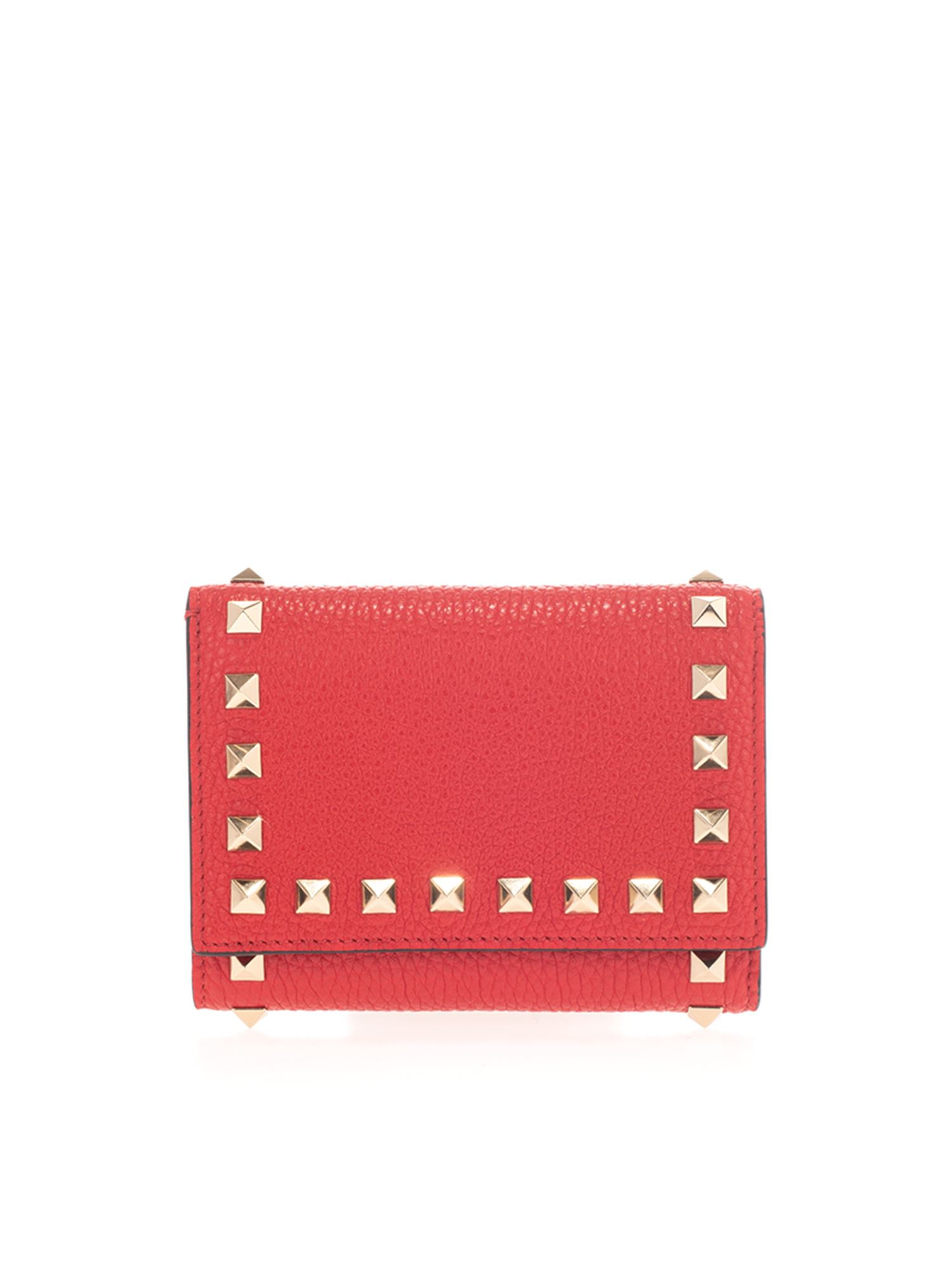 Valentino ROCKSTUD TRIFOLD WALLET IN RED