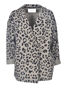 Harris Wharf London - Animalier coat in grey and black