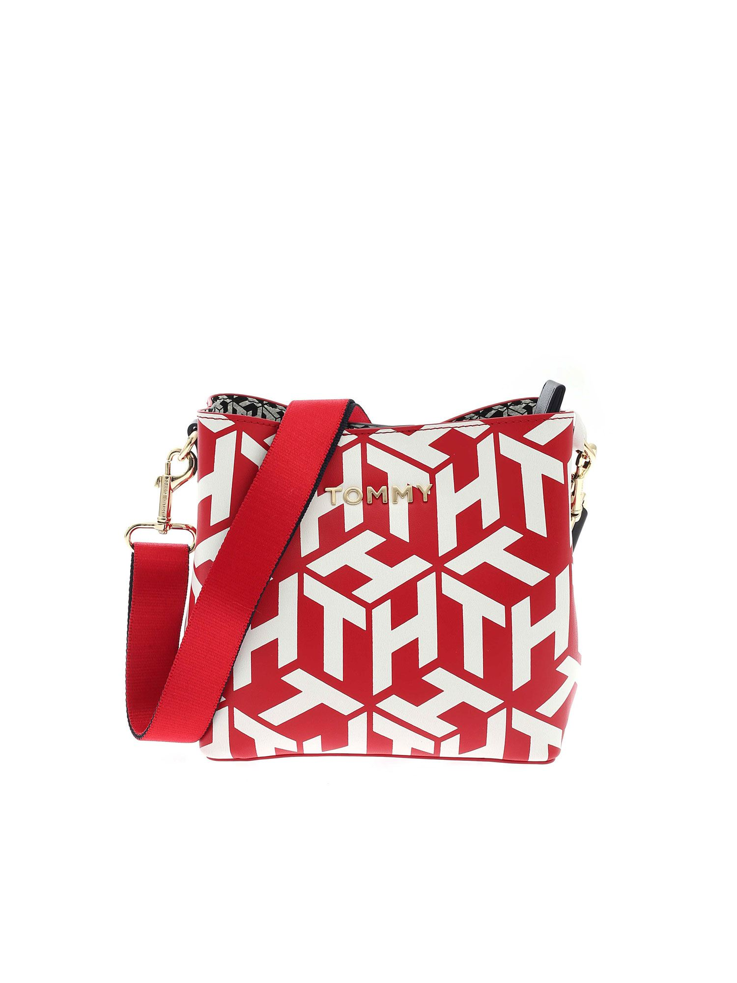 Tommy Hilfiger ICONIC TOMMY BUCKET BAG IN RED