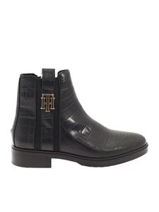 Tommy Hilfiger - Croco ankle boots in black