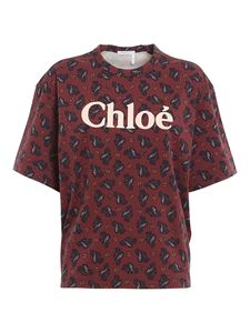 Chloé - Paisley patterned cotton T-shirt in red