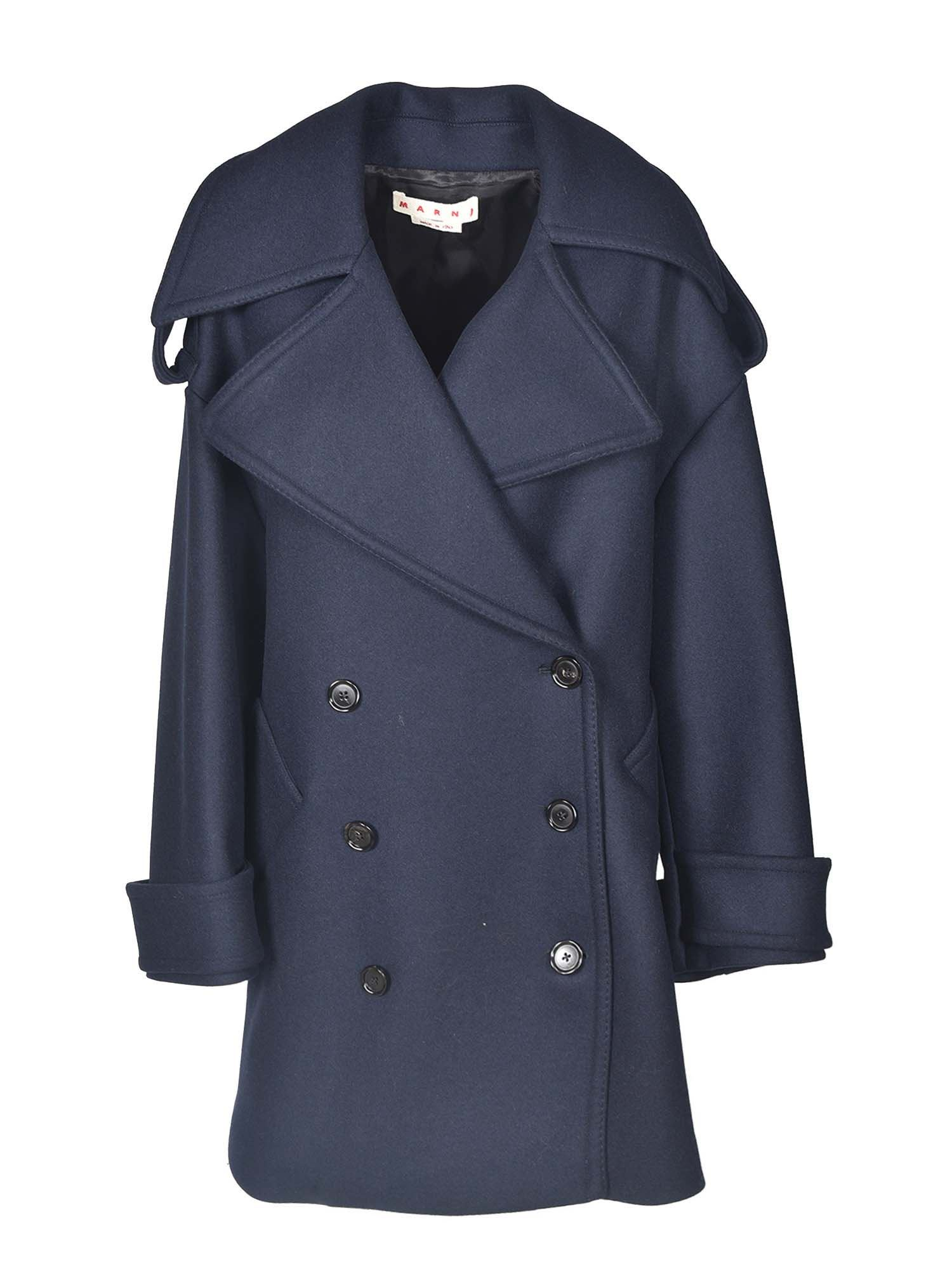 Marni DOUBLE-BREASTED SHORT COAT IN BLUE