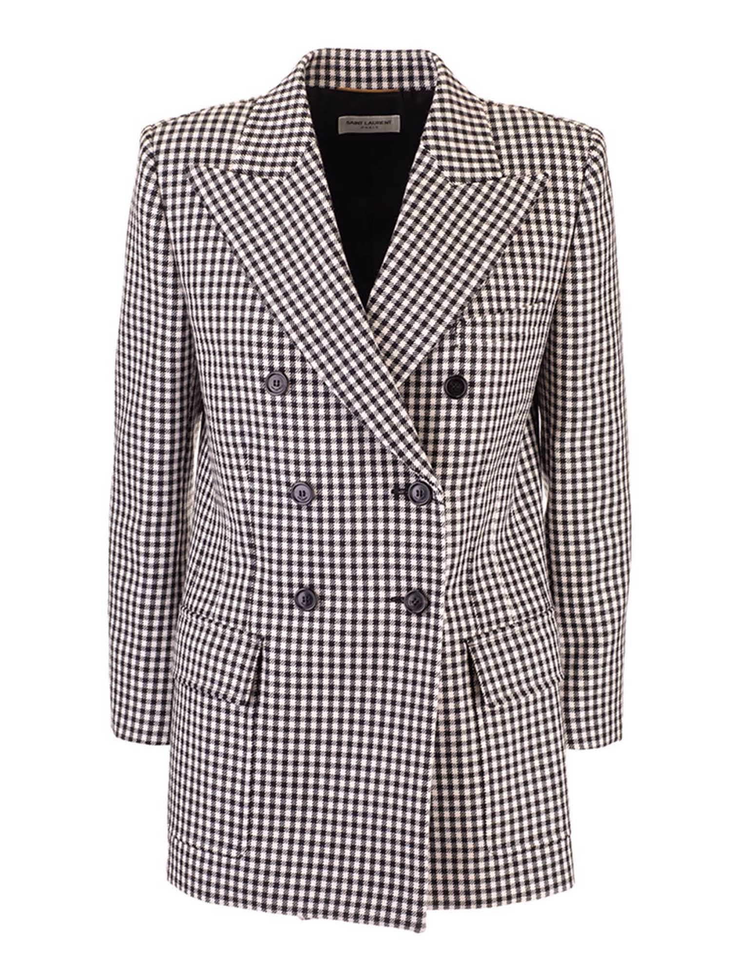 Saint Laurent CHECKED JACQUARD JACKET IN WHITE AND BLACK
