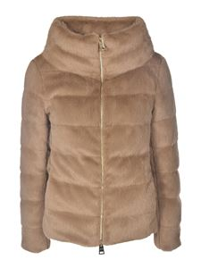 Herno - Padded eco fur in camel color