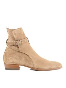 Saint Laurent - Wyatt 30 Jodhpur suede ankle boots in beige