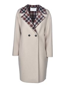 Harris Wharf London - Checked lapels coat in beige