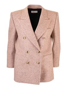 Saint Laurent - Giacca doppiopetto tweed rosa