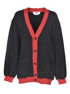 MSGM - Logo cardigan in black and red