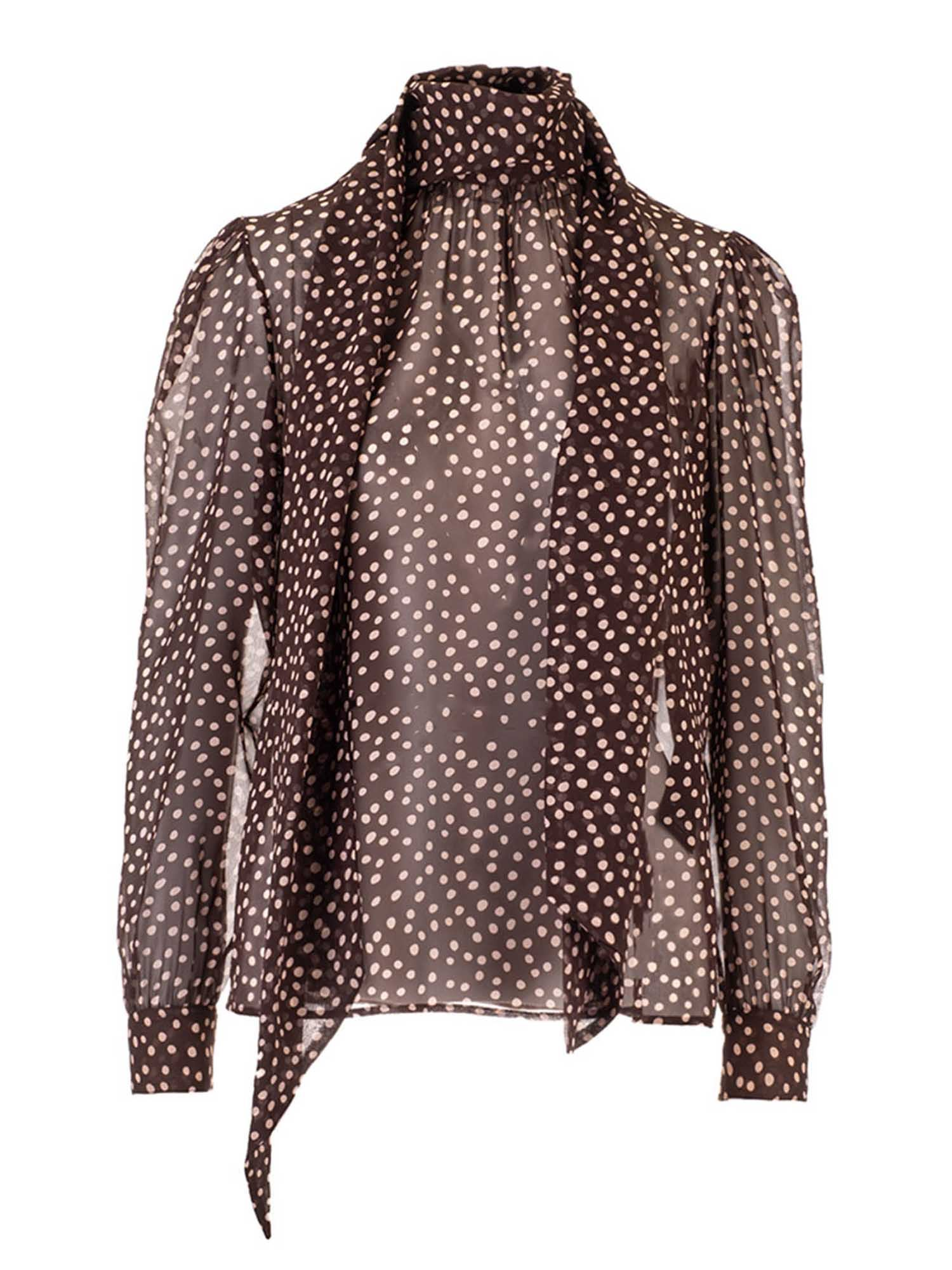 Saint Laurent POLKA DOT LAVALLIÈRE COLLAR BLOUSE IN BROWN