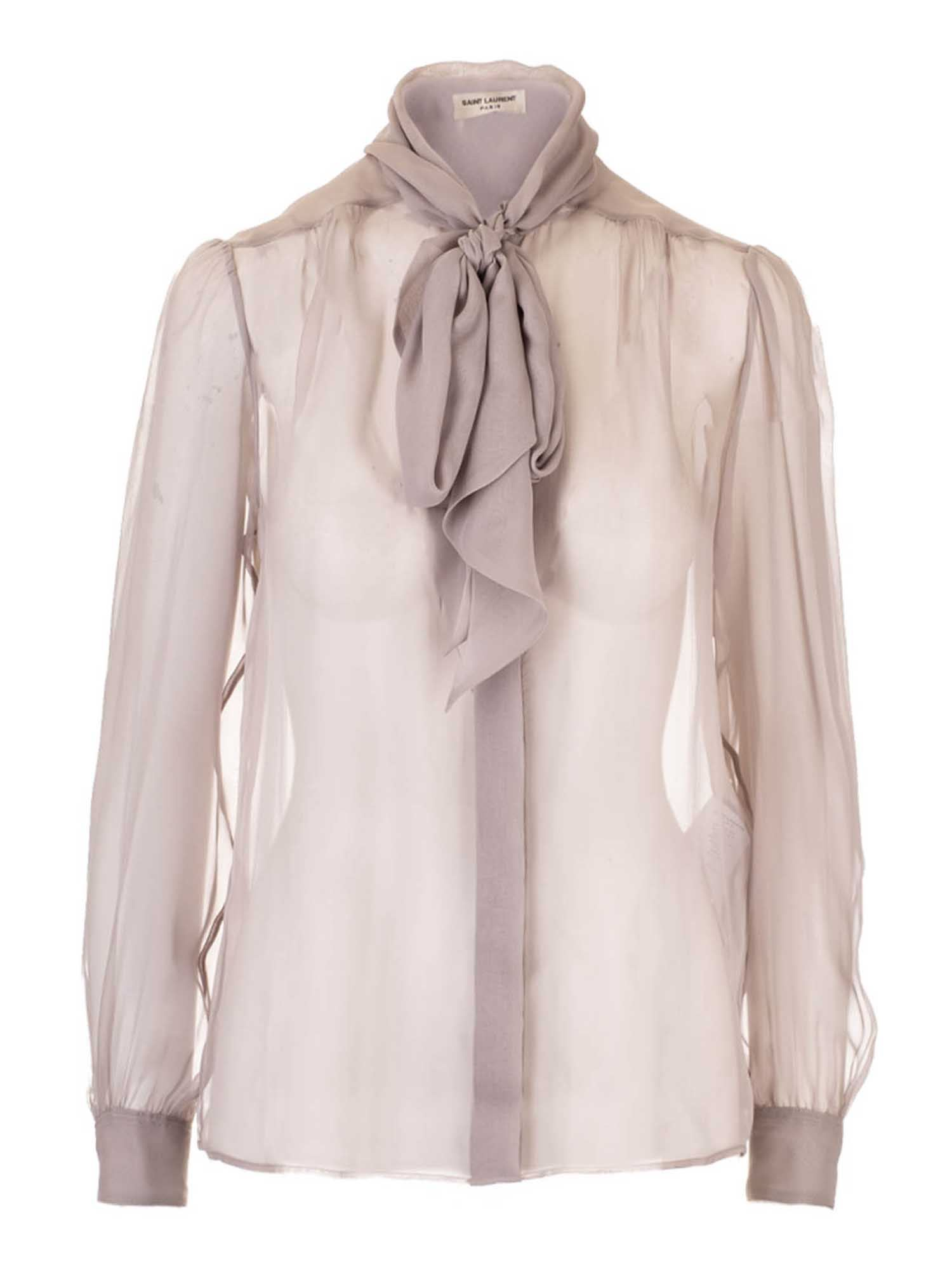 Saint Laurent LAVALLIÈRE COLLAR BLOUSE IN PEARL COLOR
