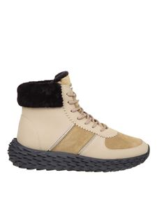 Giuseppe Zanotti - Urchin sneakers in calfskin with shearling edge in beige