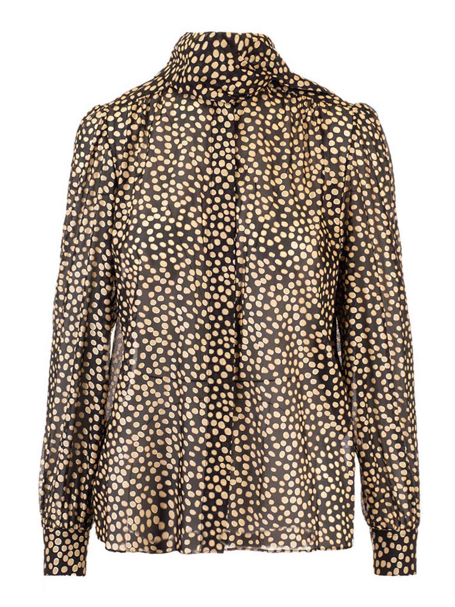 Saint Laurent LAVALLIÈRE BLOUSE IN GOLD AND BLACK