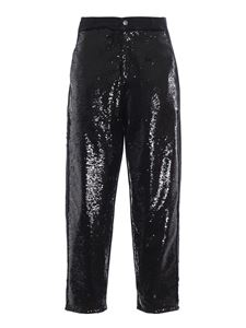 Philosophy di Lorenzo Serafini - Cotton drill sequin embellished slouchy pants in black