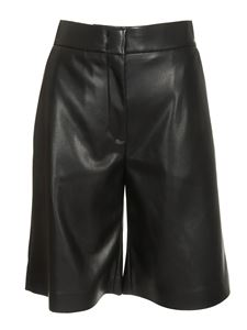 MSGM - Synthetic leather bermuda in black