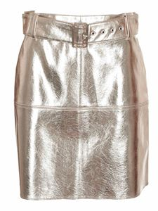 MSGM - Platinum synthetic leather skirt
