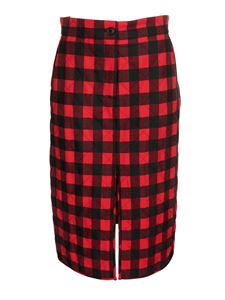 MSGM - Tartan midi skirt in red and black