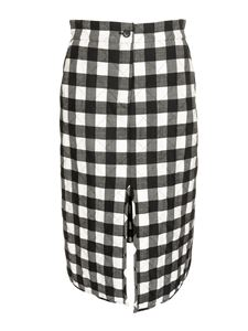 MSGM - Tartan midi skirt in white and black
