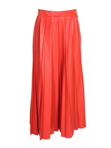 MSGM - Leather-effect long skirt in red