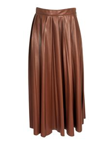 MSGM - Leather-effect long skirt in brown