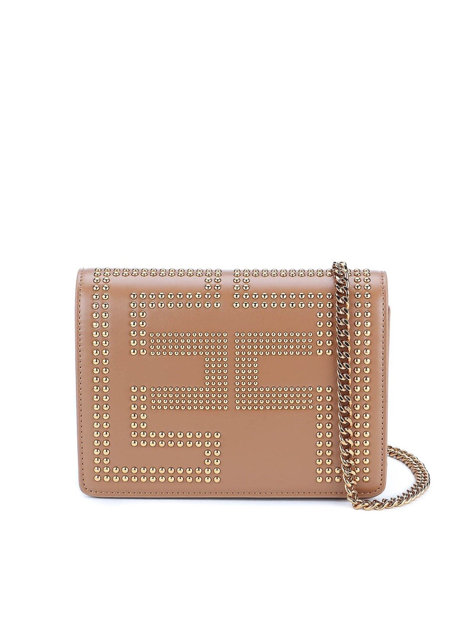 Elisabetta Franchi STUDDED LOGO CROSS BODY BAG IN CAMEL COLOR