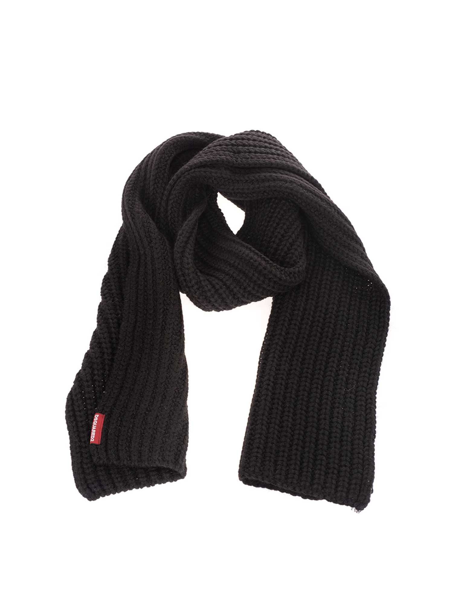 Dsquared2 RIBBED SCARF IN BLACK