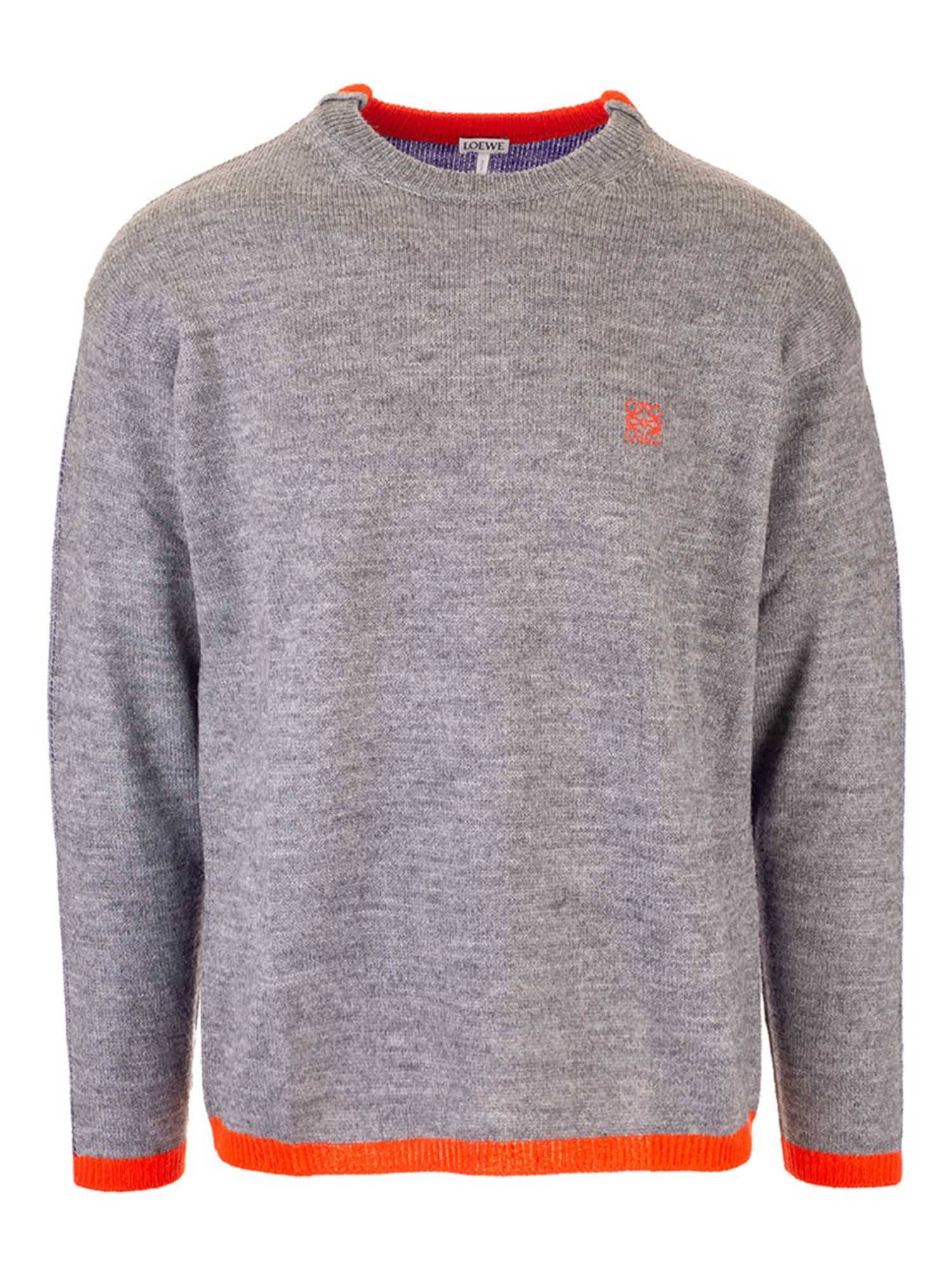 Loewe CREW-NECK PULLOVER IN GREY AND BLUE