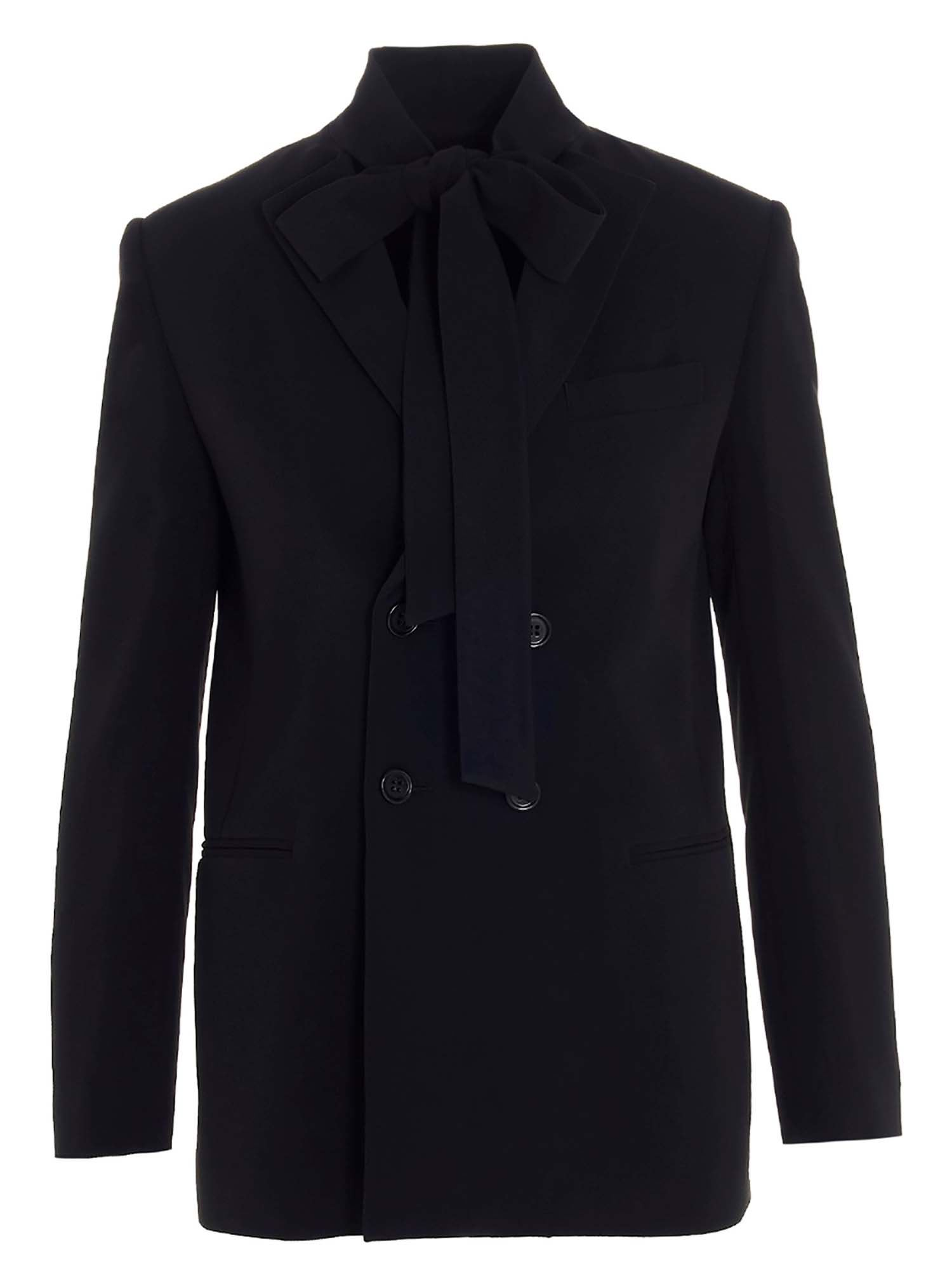 Red Valentino DOUBLE-BREASTED BOW JACKET IN BLACK