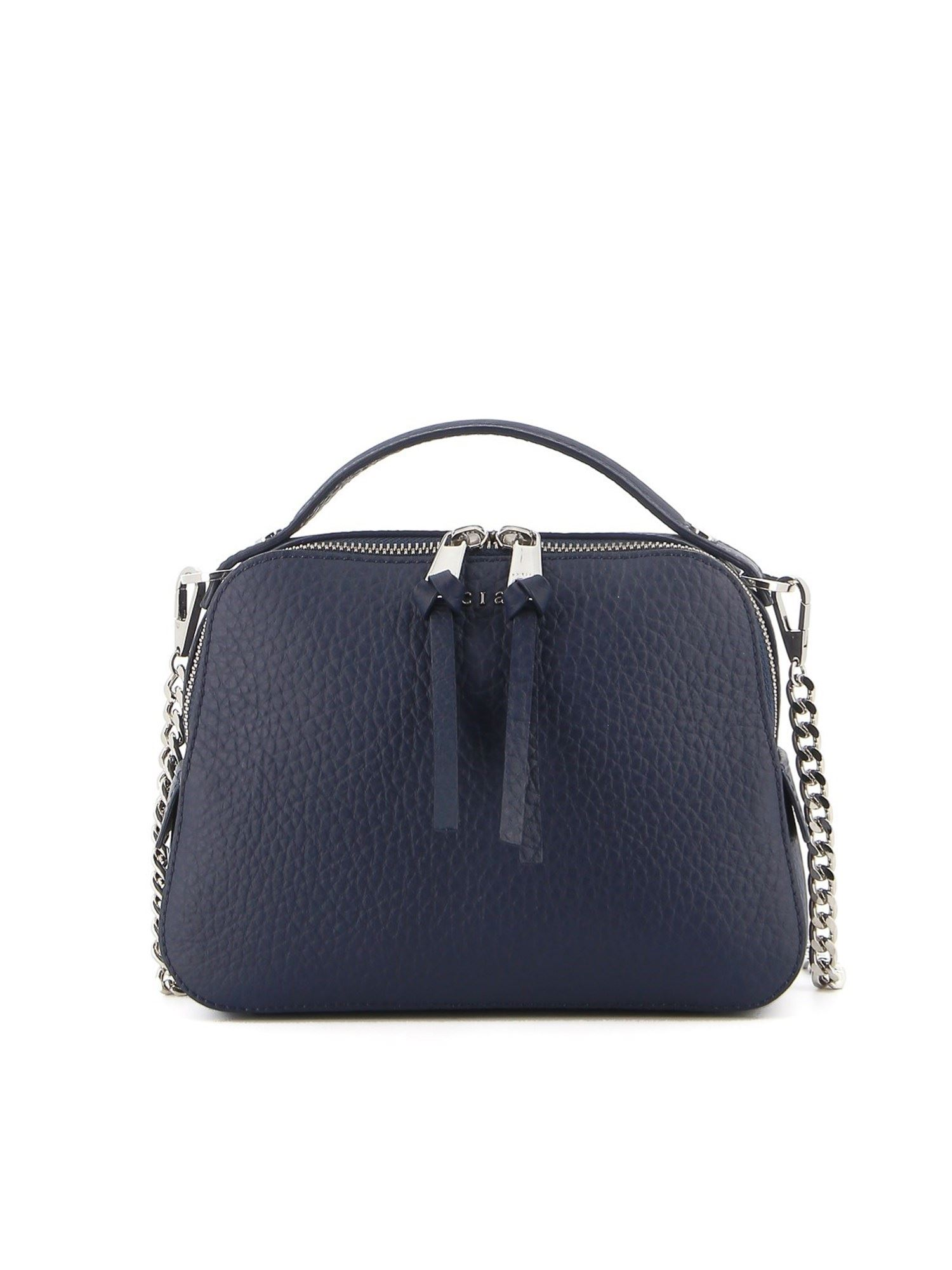 Orciani SOFT HAMMERED LEATHER CROSS BODY BAG IN BLUE