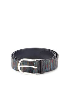 Orciani - Hammered leather belt in grey