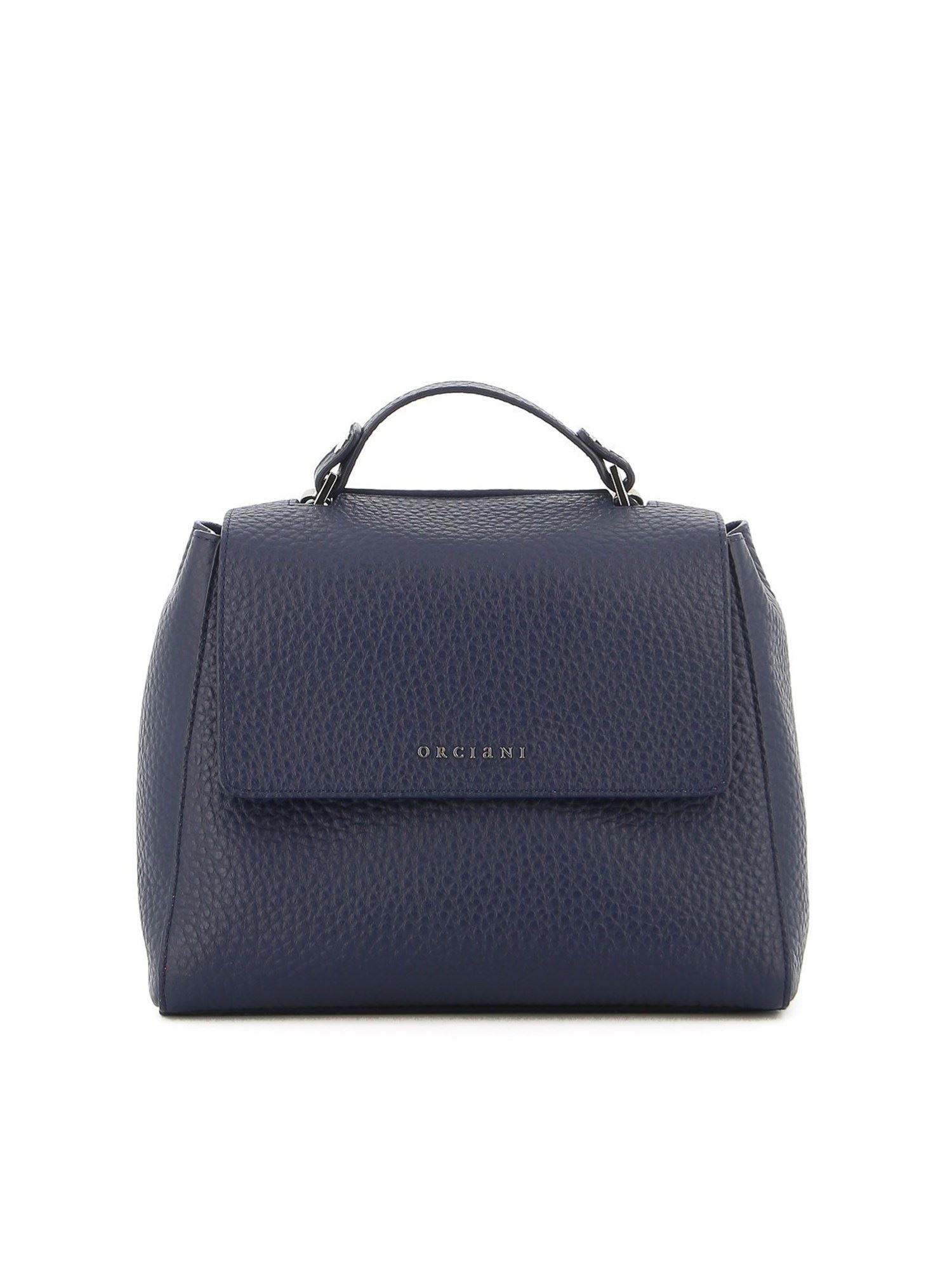Orciani SVEVA GRAINY LEATHER SMALL BAG IN BLUE
